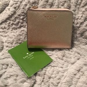 {KATE SPADE} L-ZIP BLUSH PINK BIFOLD WALLET